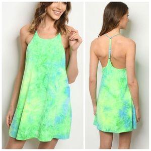 Neon green tie-dye dress